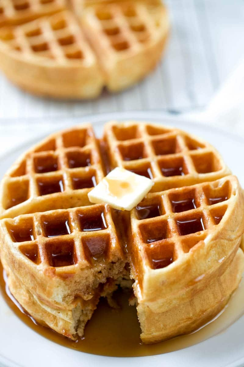 waffle recipe on a plate covered with syrup