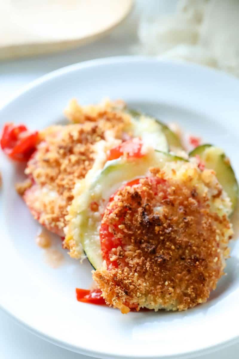 zucchini casserole on a plate
