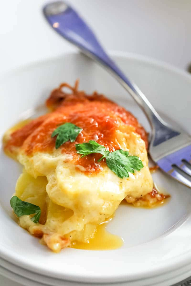 scalloped potatoes on a plate