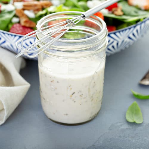Homemade ranch dressing in a glass mason jar