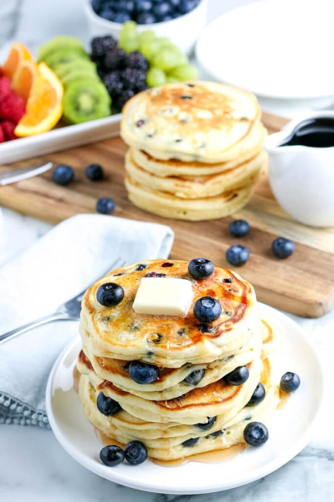 stack of the best blueberry pancakes