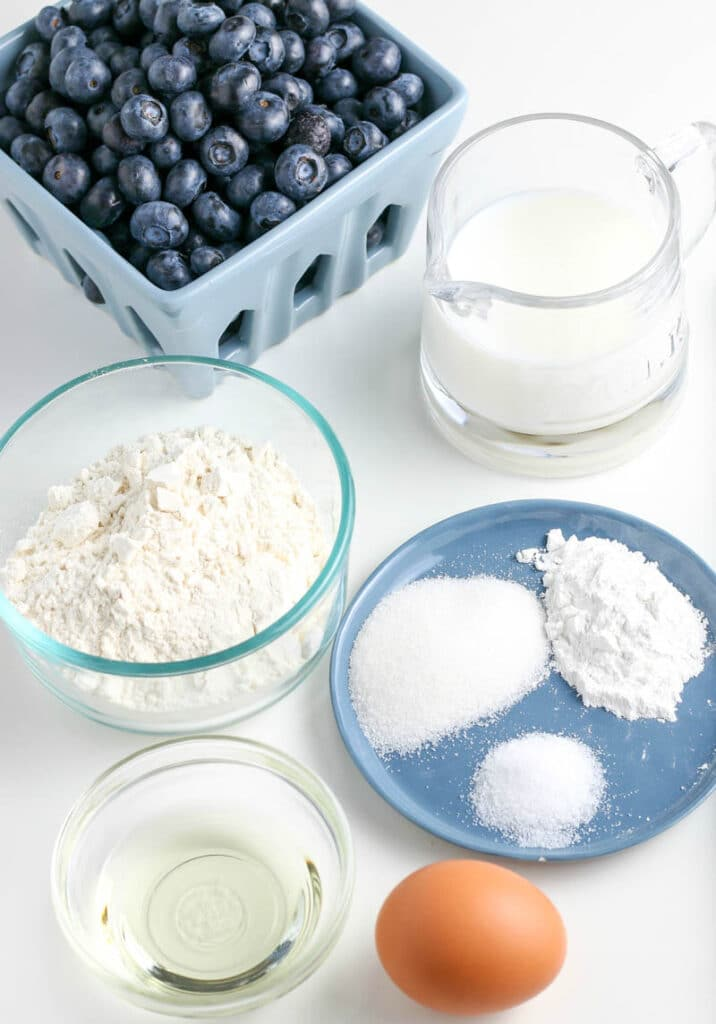 ingredients for homemade blueberry pancakes