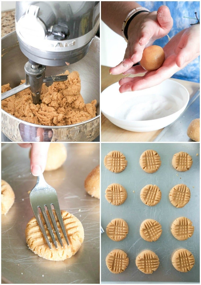 making homemade peanut butter cookies