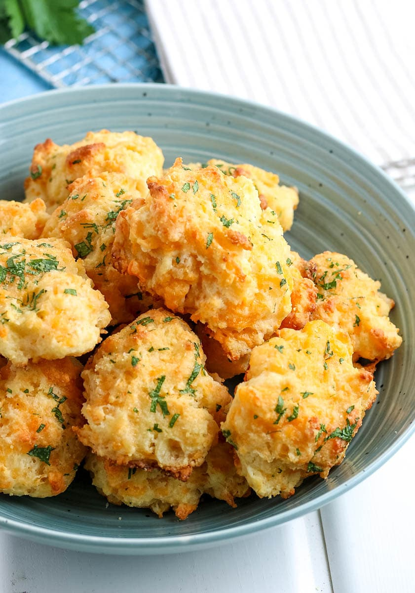cheddar bay biscuits in a bowl