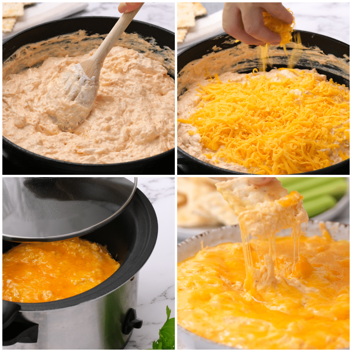 step by step instructionsf or making buffalo chicken dip