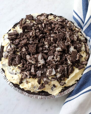 Top shot of finished pie topped with crushed oreos