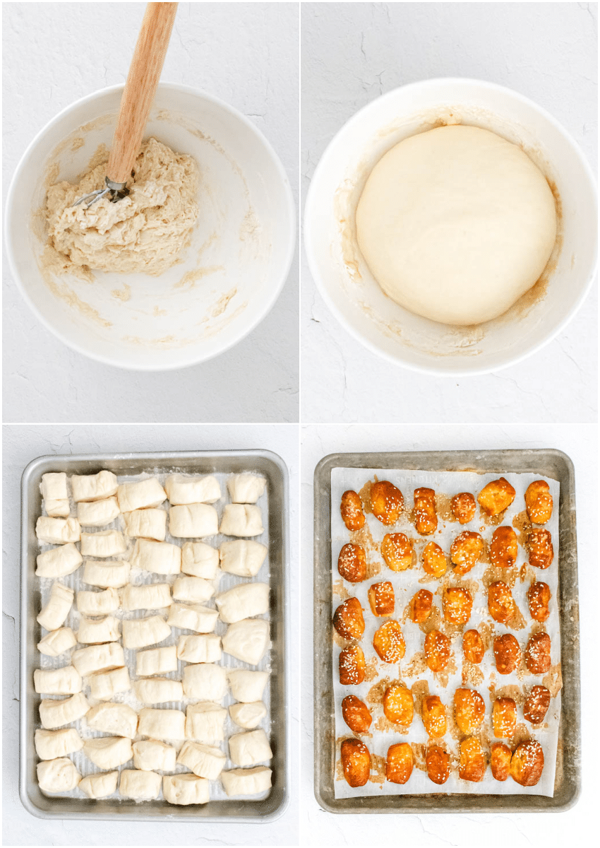 4-photo collage of step-by-step photos to make pretzel bites
