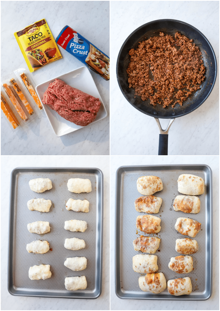 4x4 image of how to make cheesy taco sticks