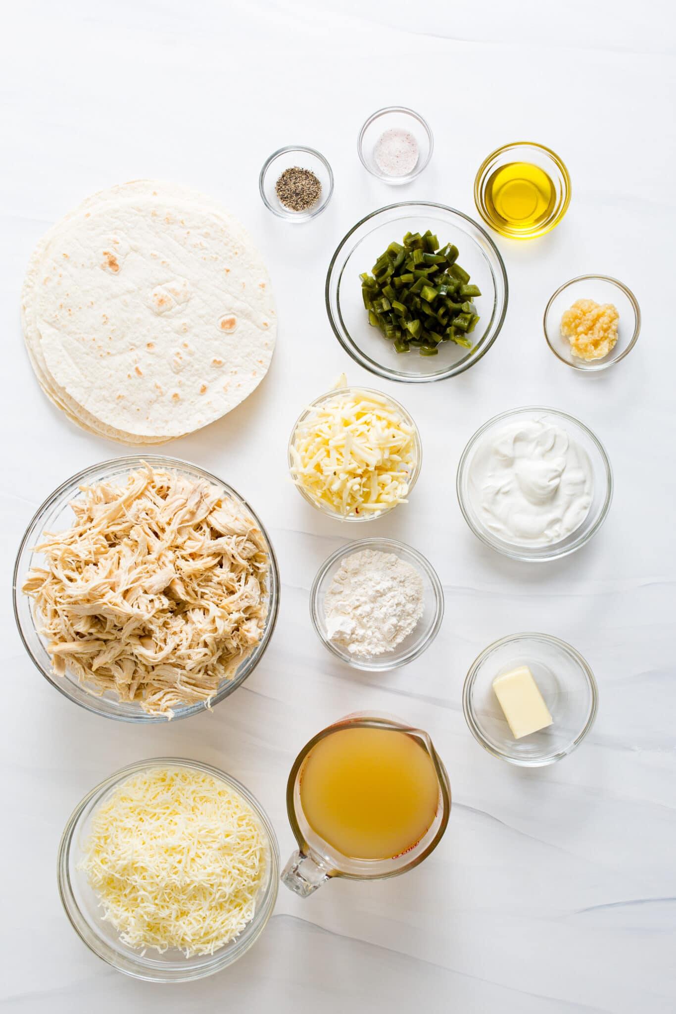 ingredients needed to make white chicken enchiladas