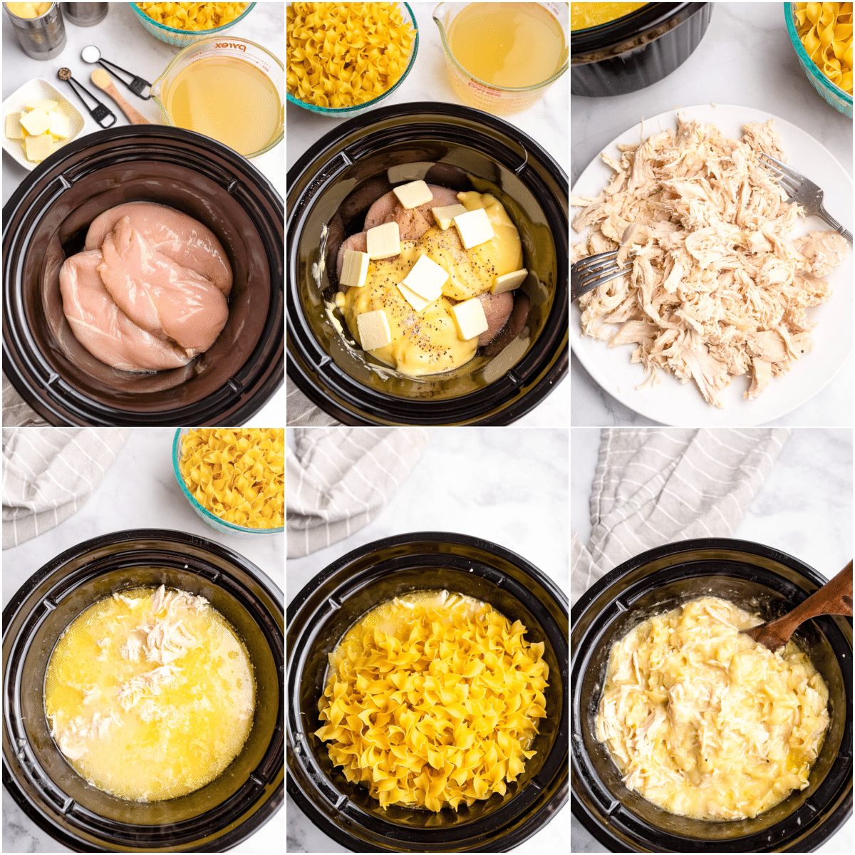 step by step images showing how to make instant pot chicken and noodles
