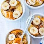 bowls of banana bread pudding