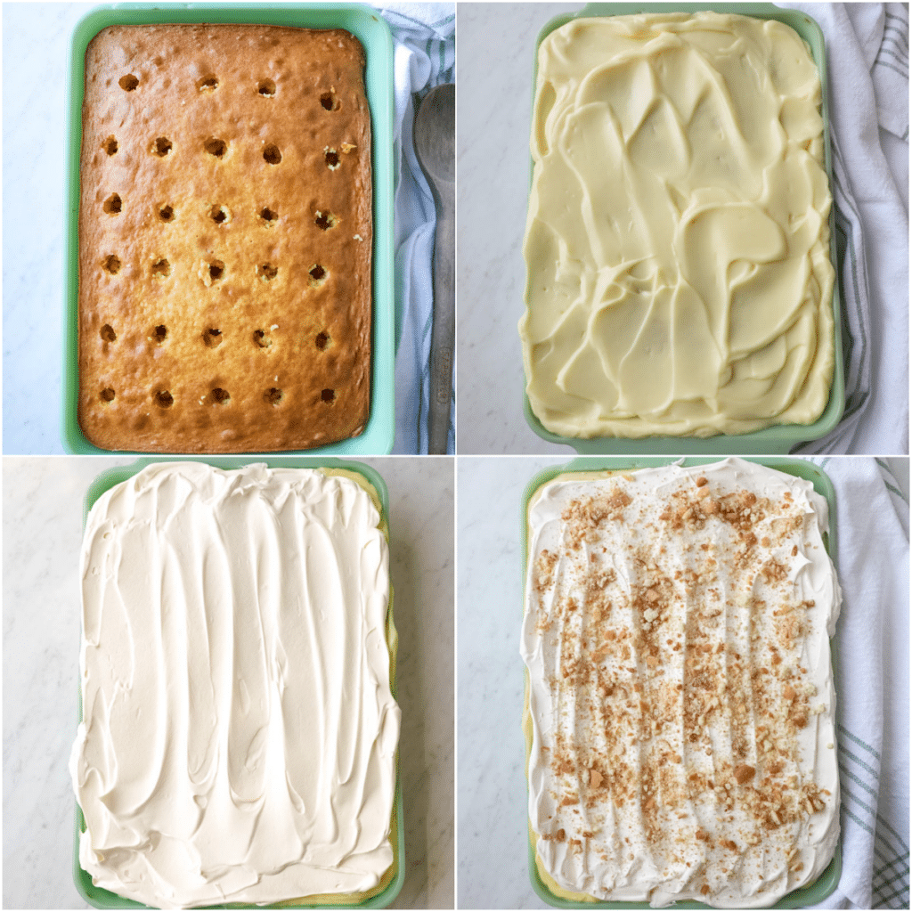There are four pictures of the progression of making a poke cake.
