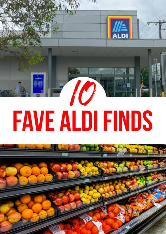 Outside front of store of Aldi and a long aisle of various fruits.