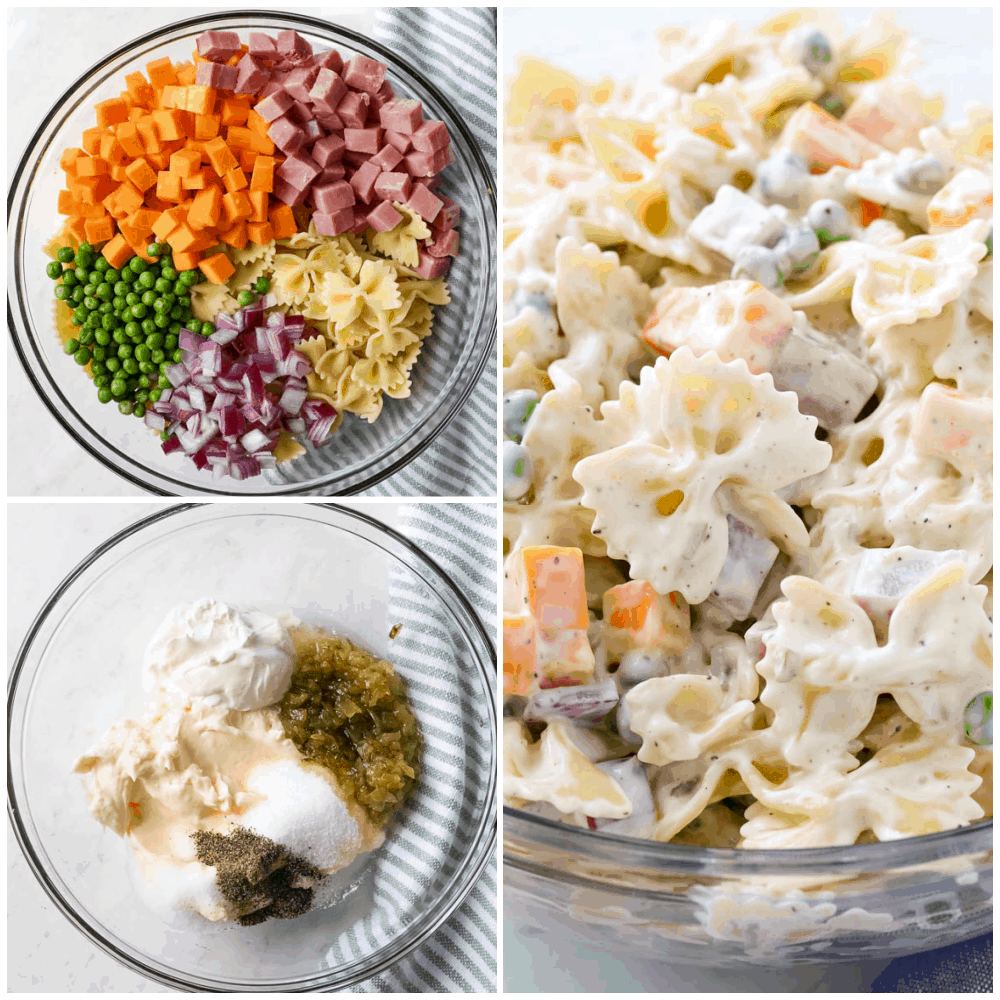 ingredients needed for pasta salad in a bowl