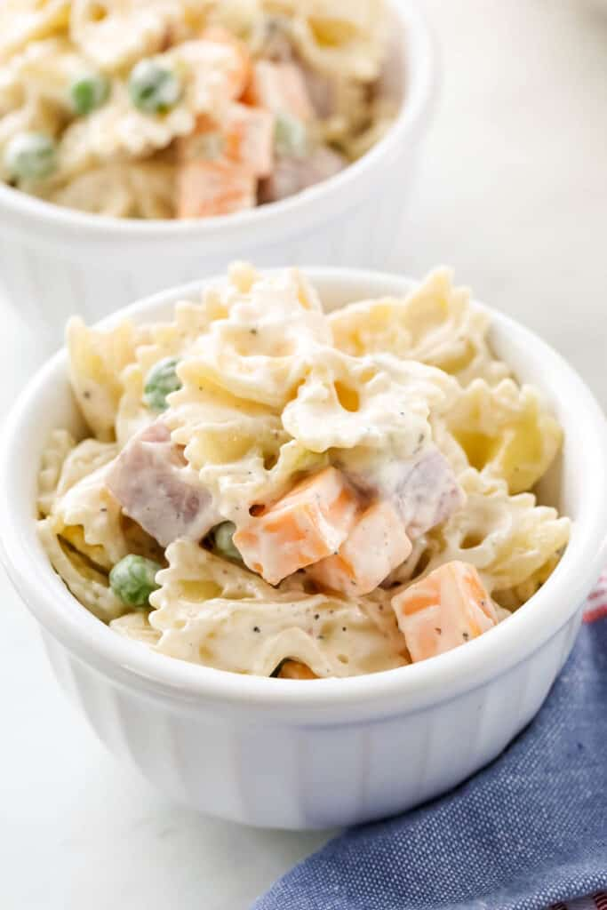 pasta salad in a white dish