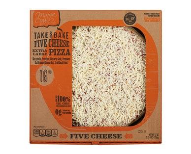 Box of Mama Cozzi's Take & Bake Deli Five Cheese Pizza from Aldi.