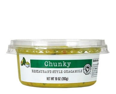 Container of Park Street Deli Fresh Chunky Restaurant-Style Guacamole from Aldi.