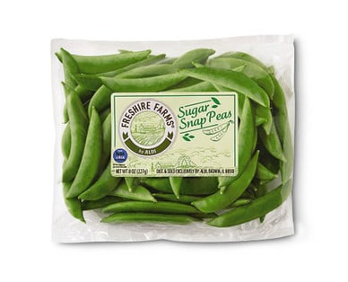 Fresh package of Freshire Farms Sugar Snap Peas from Aldi.