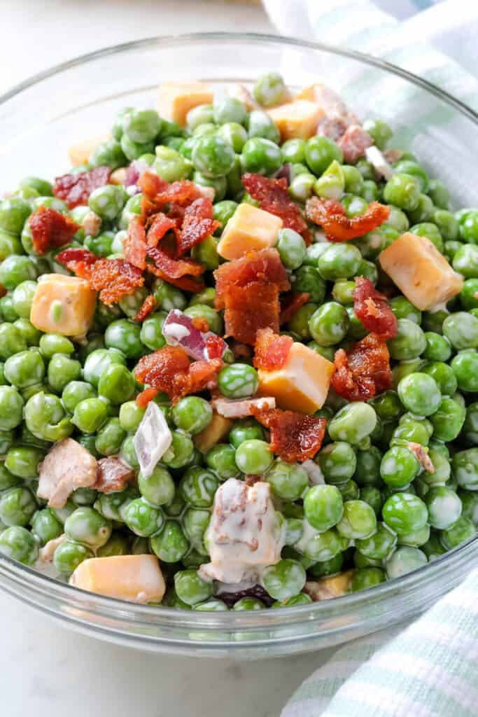 pea salad in a clear bowl