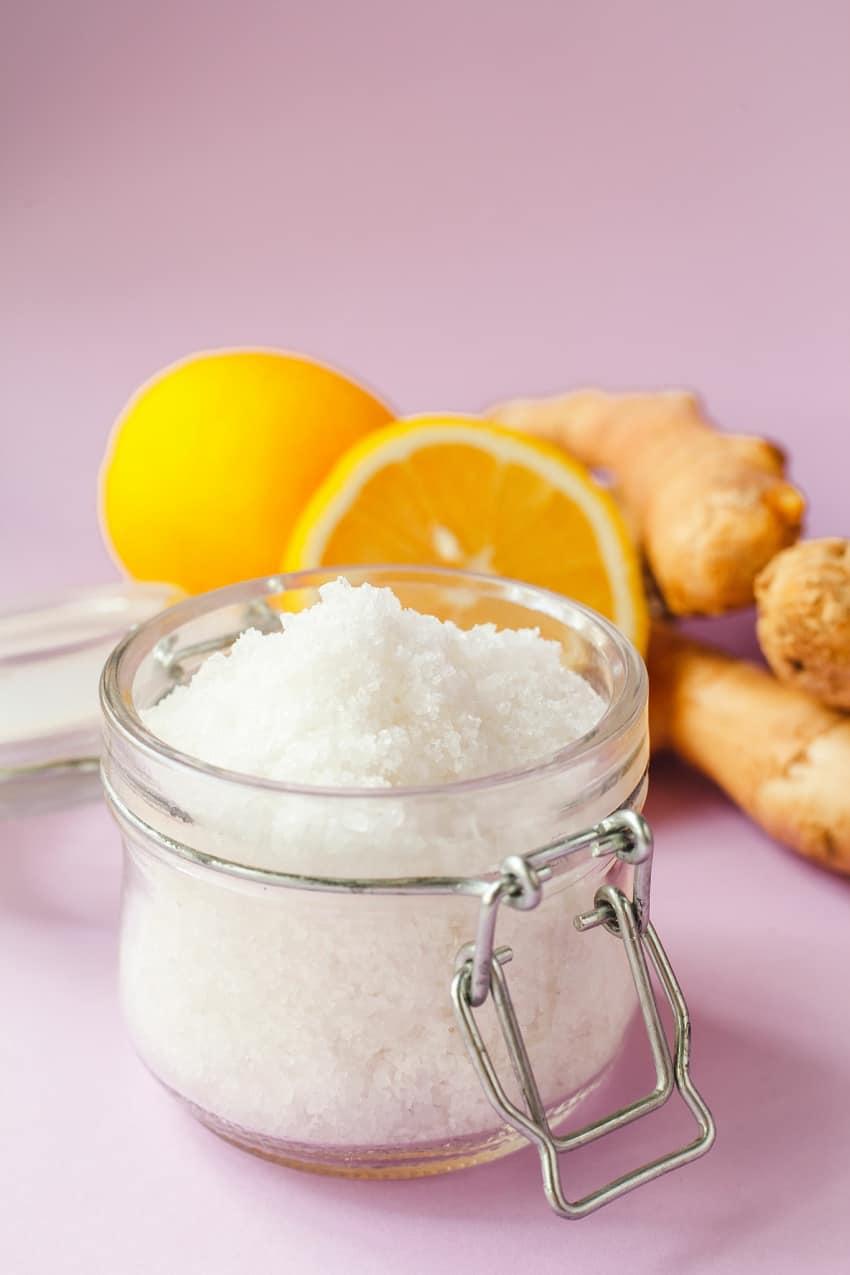 lemon sugar scrub in a jar