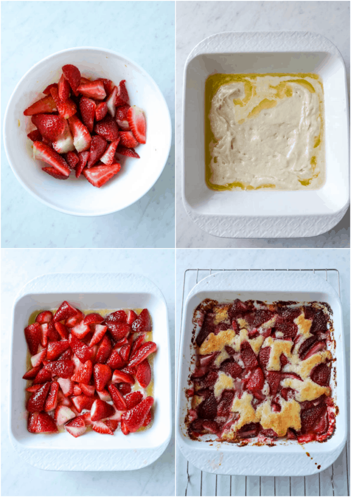 steps to make strawberry cobbler in a white dish