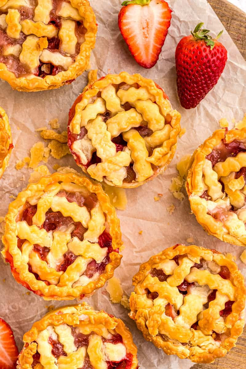 mini pies on a piece of parchment paper