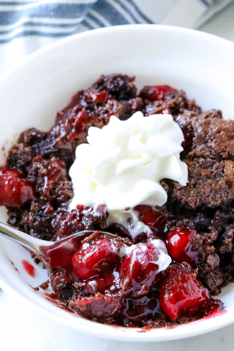 whipped topping on a dump cake
