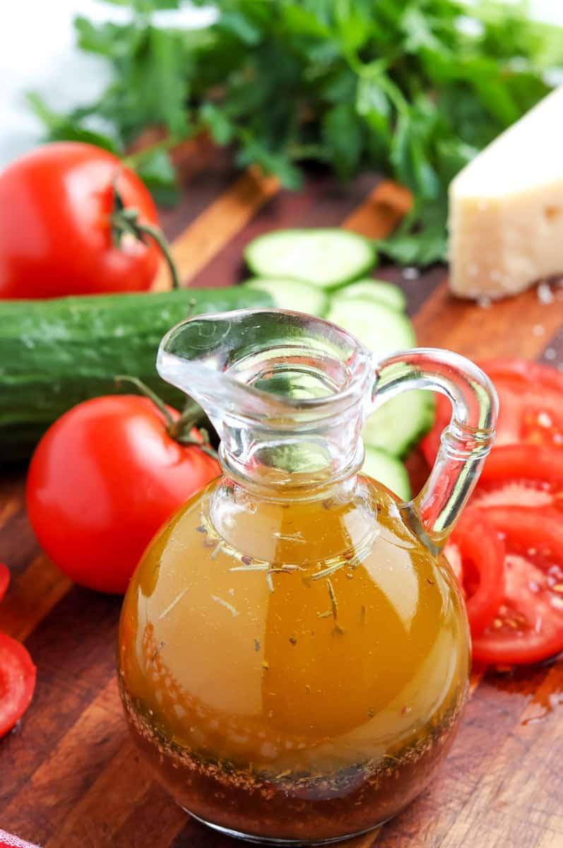 italian dressing bottle on a table
