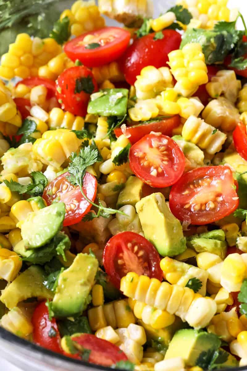 Close-up view of Corn, Avocado & Cilantro Salad