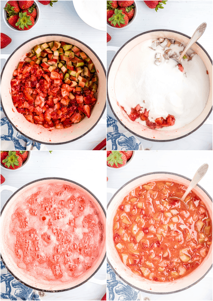 collage of four images showing the process of making strawberry rhubarb jam from bowl of sliced strawberries and rhubarb to bowl with all ingredients added.