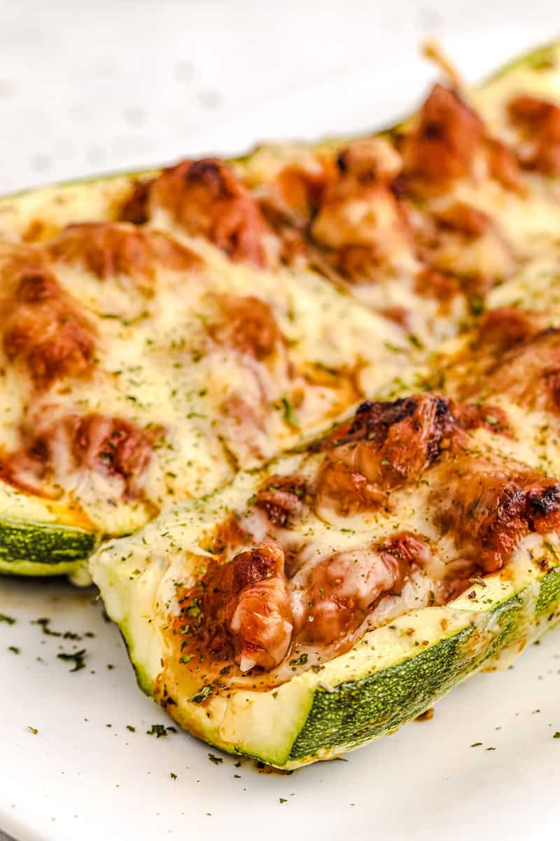 zucchini boats on a white plate