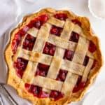 baked cherry pie lattice design
