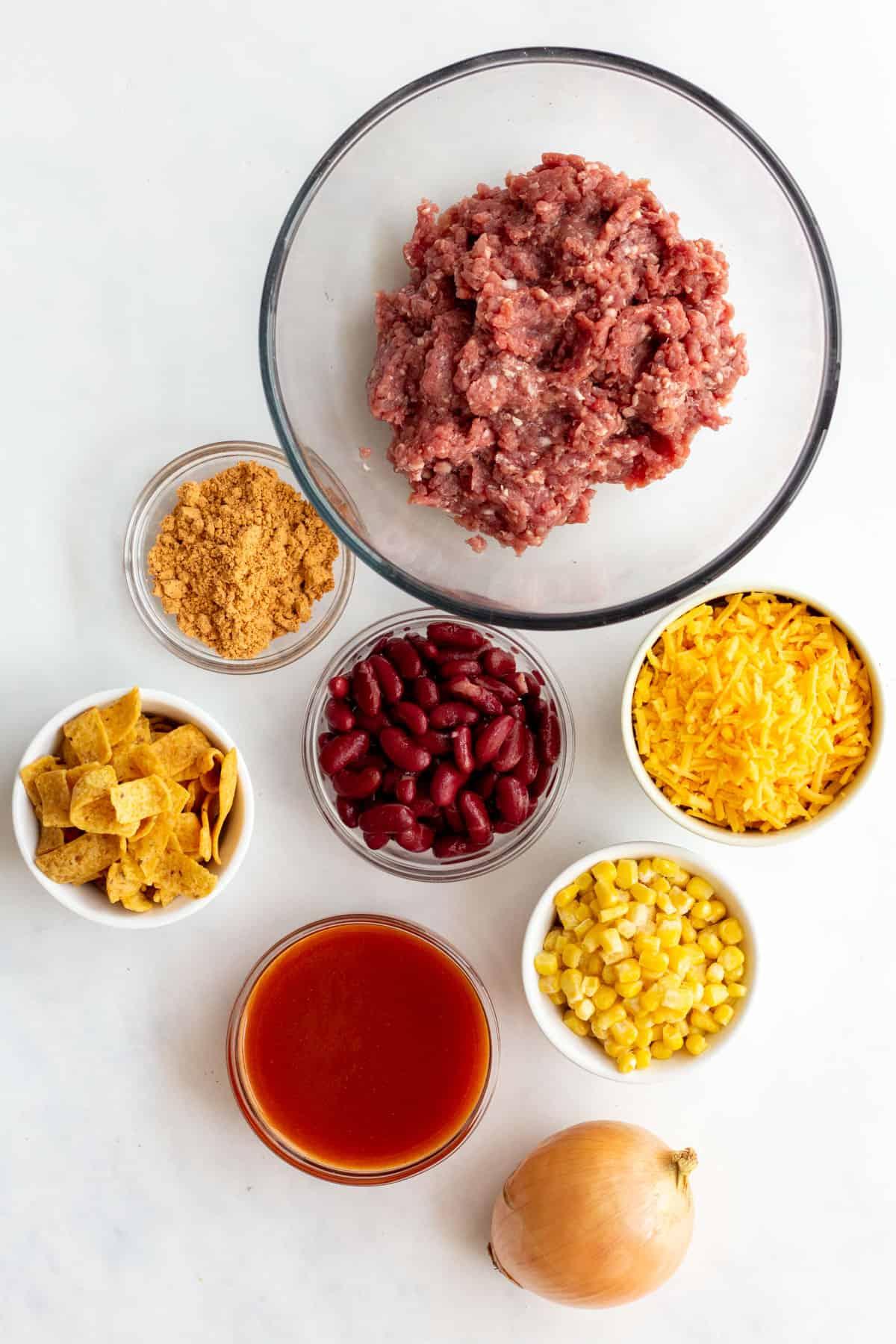 ingredients to make frito pie
