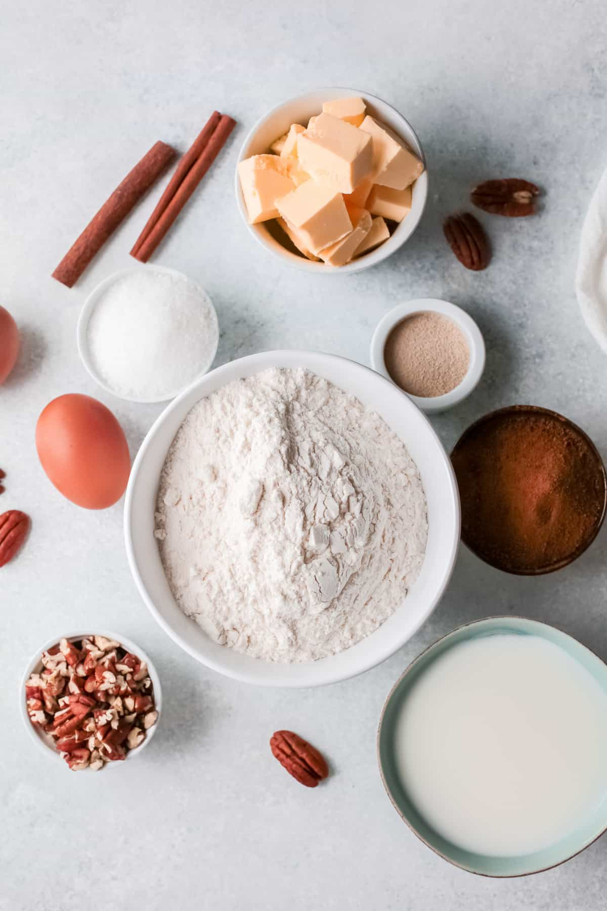 ingredients for pecan caramel cinnamon rolls