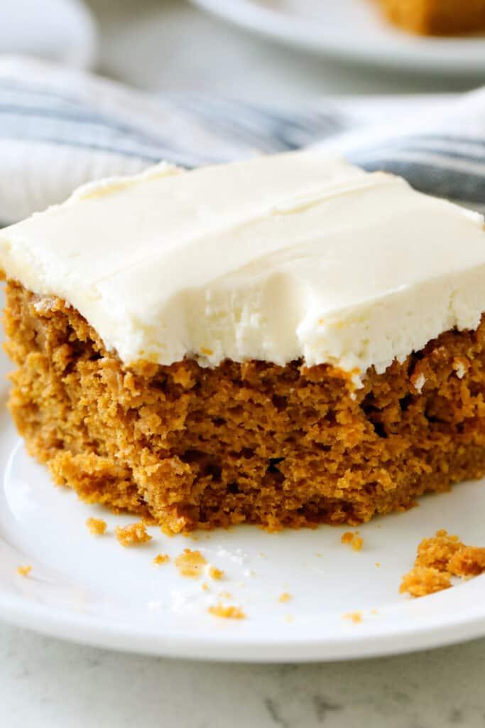 pumpkin cake on a white plate