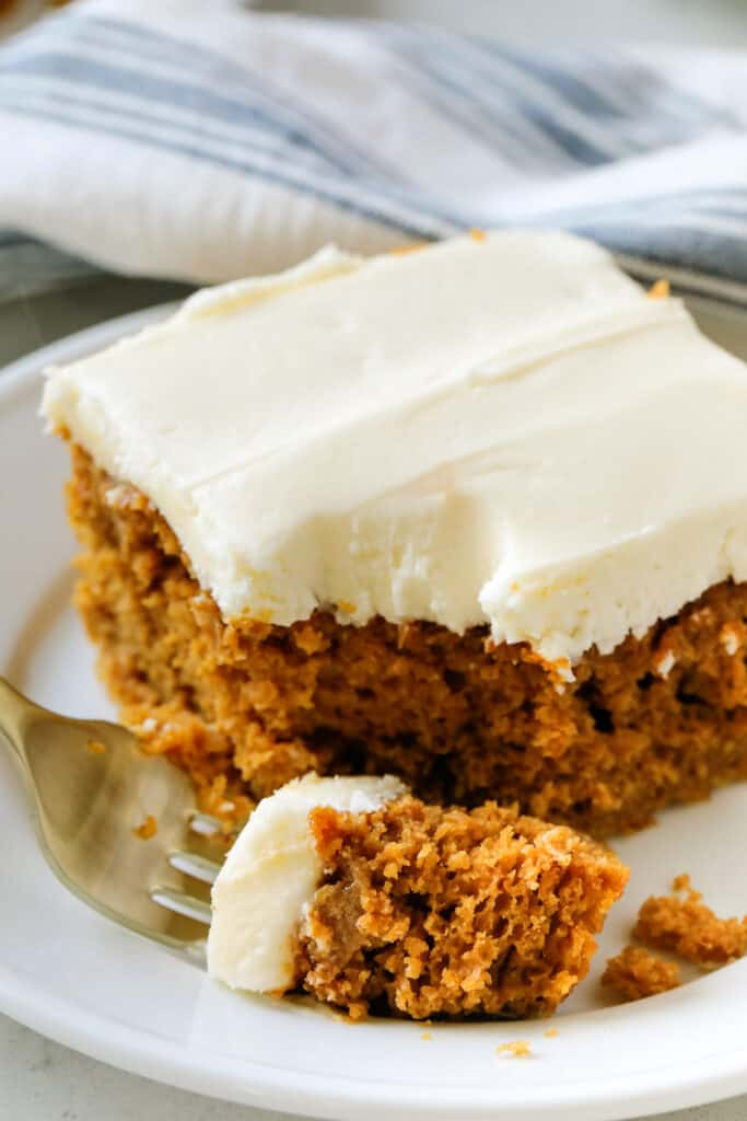 piece of pumpkin cake with a bite out of it