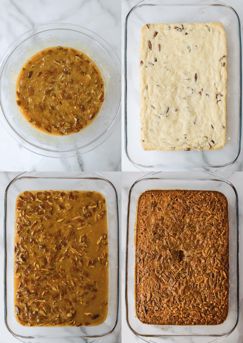 last four steps to make pecan pie bars