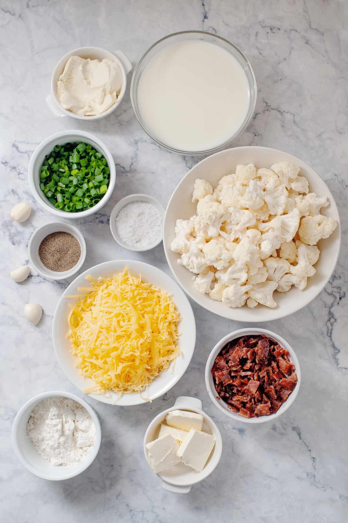 ingredients to make cheesy cauliflower casserole dish