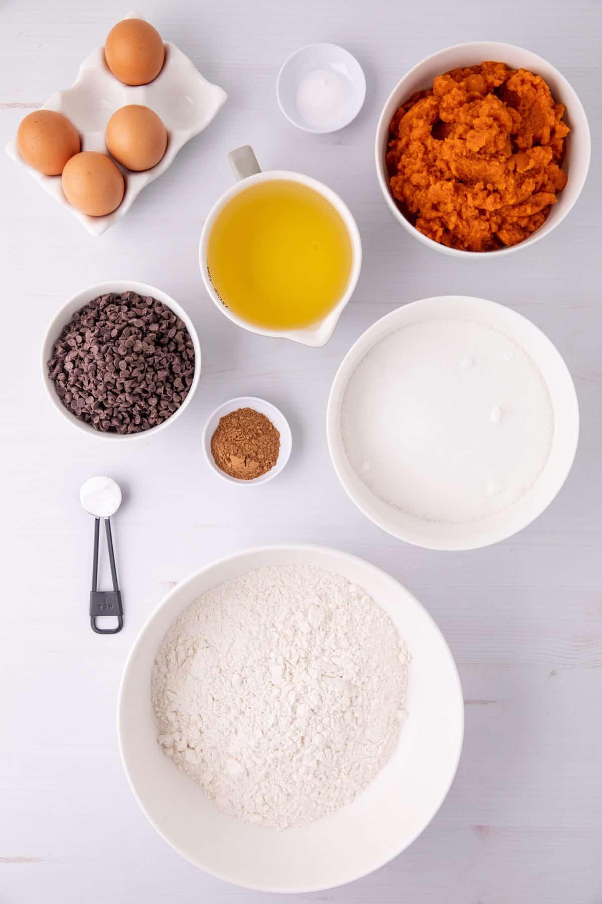 ingredients to make chocolate chip pumpkin bread