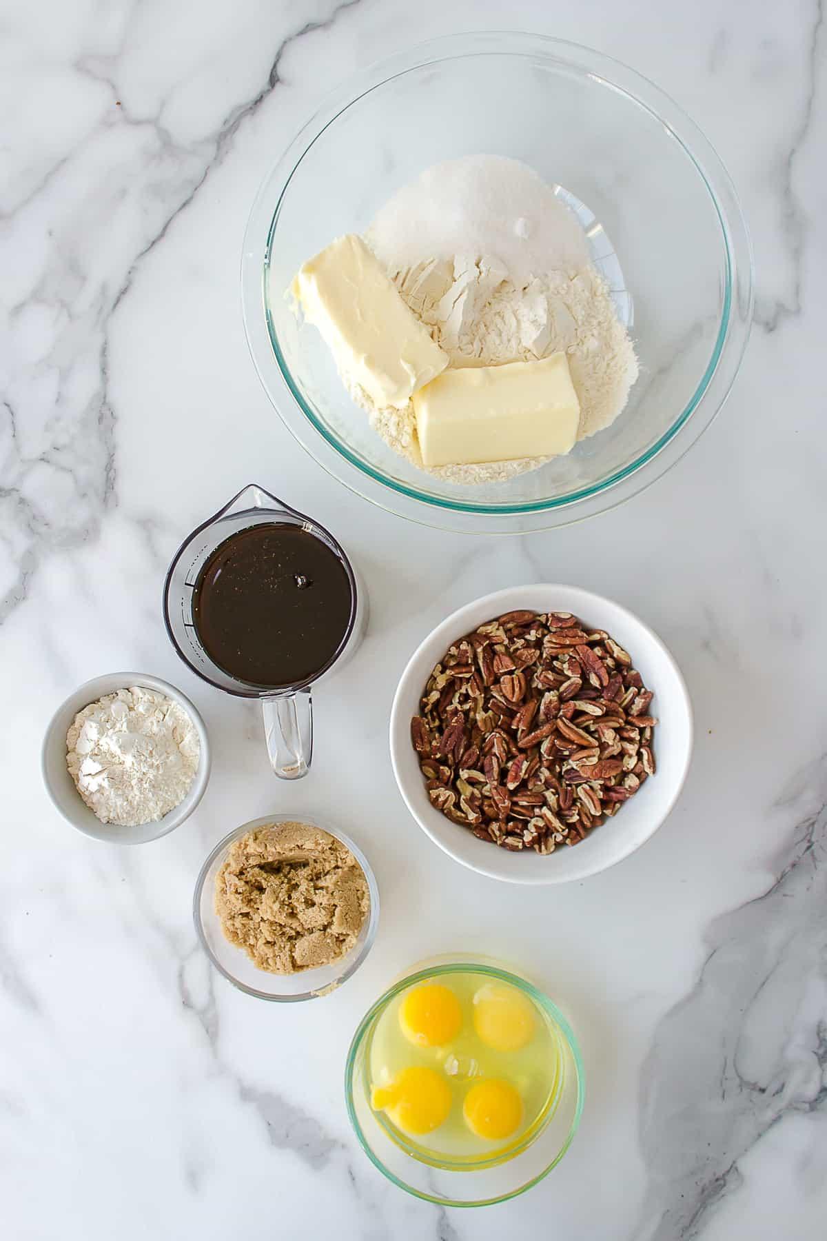 ingredients to make pecan pie bars