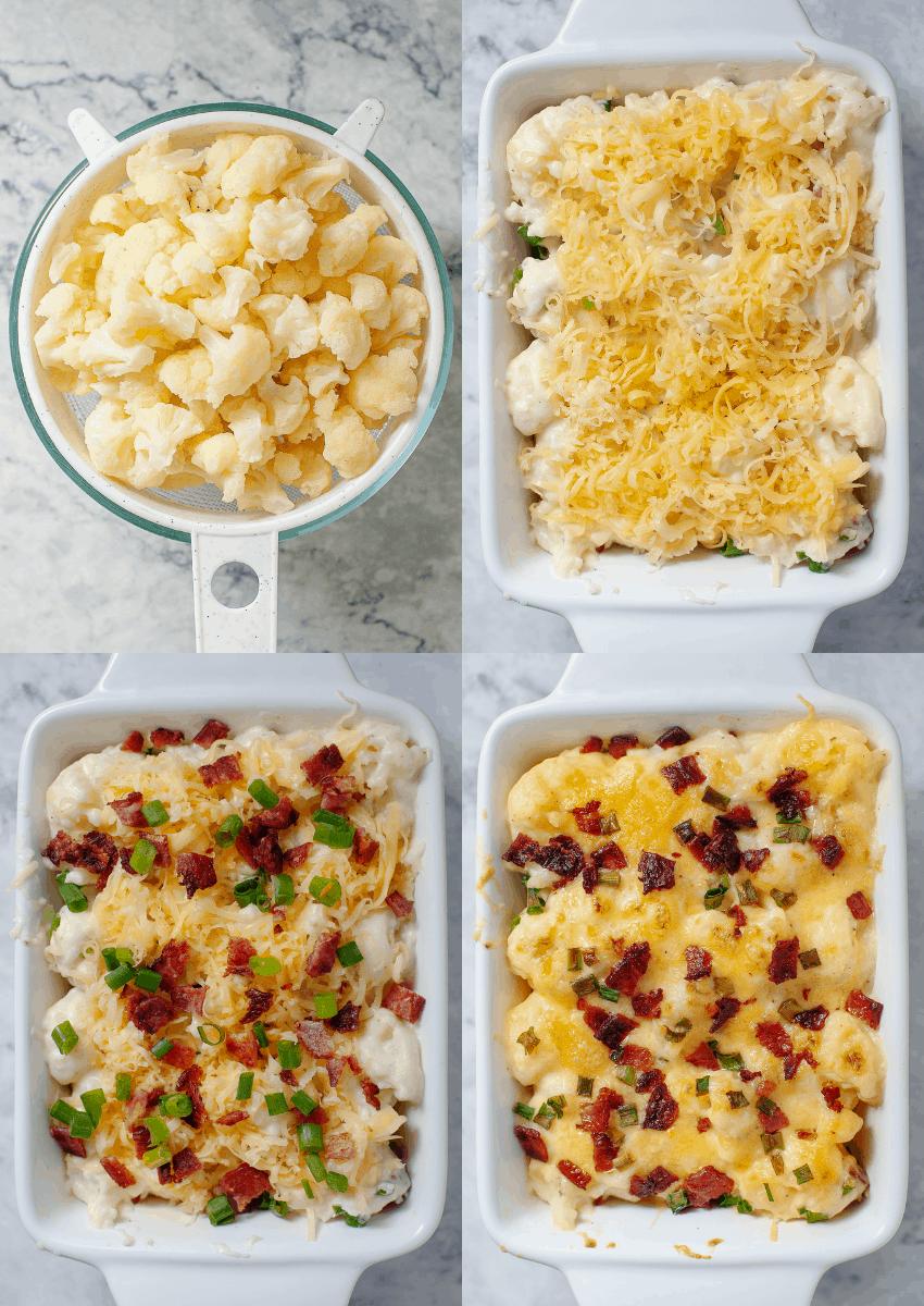 steps to make cheesy cauliflower casserole dish