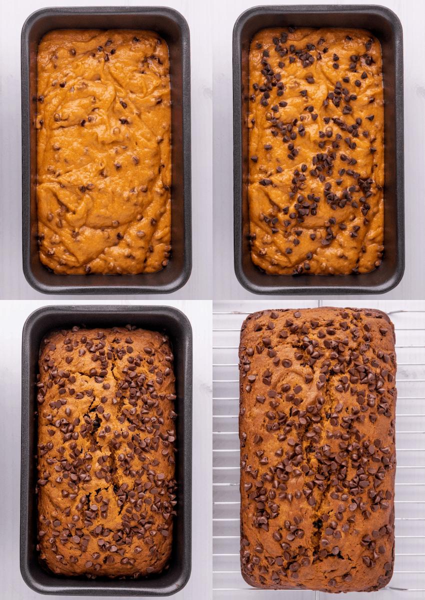 steps to make chocolate chip pumpkin bread